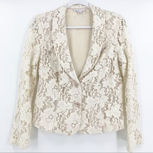 CAbi Cream Lace Long Sleeve Button Short Blazer 6